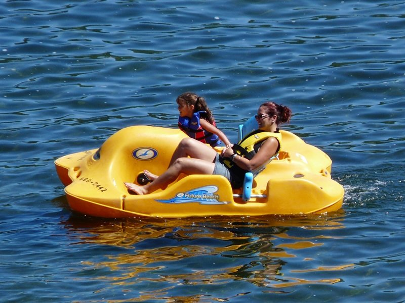 Two women in a paddleboat
